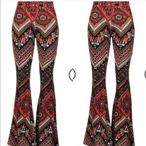 Pants - Ethnic Print Bell Bottom Pants