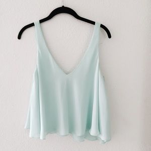 Zara Tops - Soft Baby Blue Flowy Zara Crop Top 💙