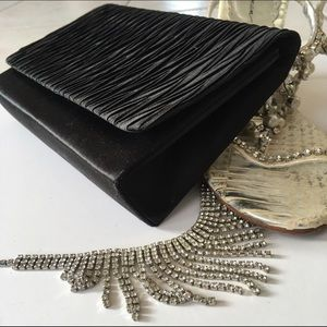 La Regale Handbags - Black satin evening clutch