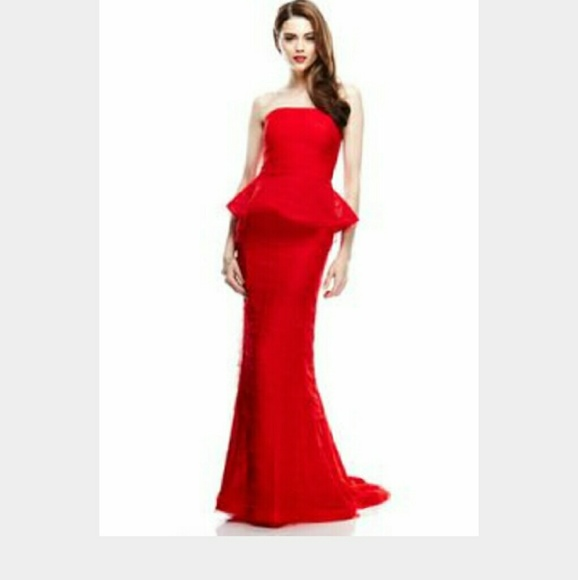 Adrianna Papell Dresses | Red Shutter Peplum Gown | Poshmark