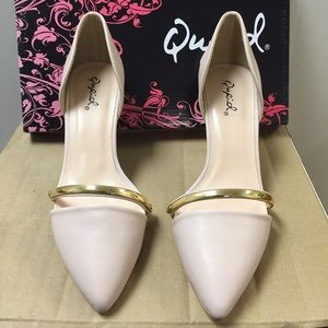 """Qupid Shoes - Qupid Nude Pale Pink D'Orsay 3"""" Heel"""