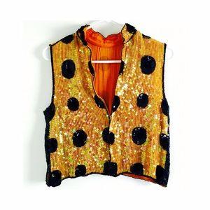100% Silk vintage polka dot embellished sequin top