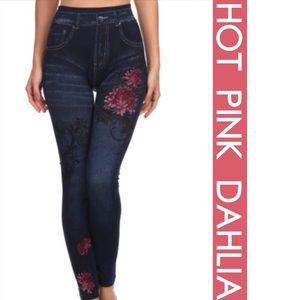 tla2 Pants - HOT PINK DAHLIA PAINTED JEGGINGS
