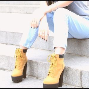 High heel timberland type boots