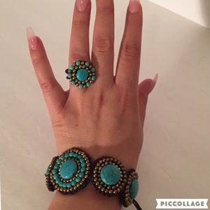 Jewelry - New Turquoise and Beaded Bracelet and Ring