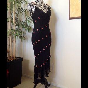 Black Silk & pink roses ruffled evening dress