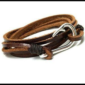 Jewelry - Genuine Brown Leather Silver Fish Hook Bracelet