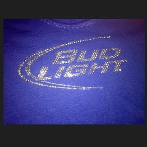 c4b3854b141fe3 In Your Face Apparel Tops - Bud Light Rhinestone Tank Top