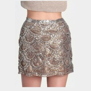 Perfect sequin skirt! Silver tiers of silver