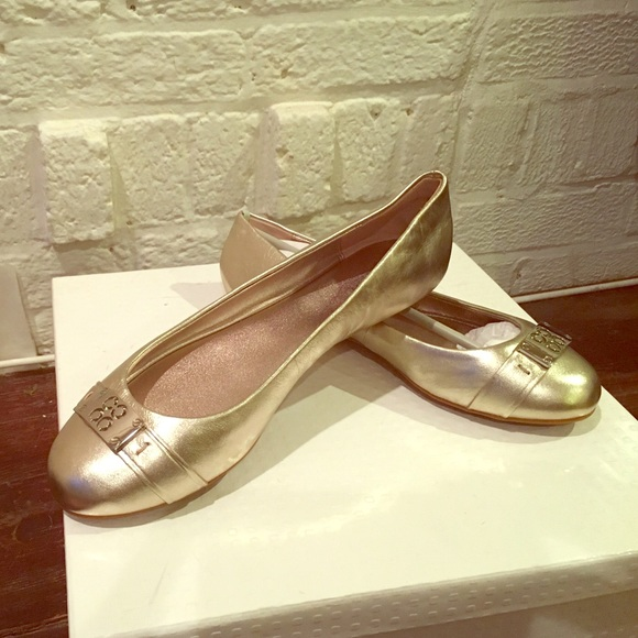 Coach Shoes - Coach Metallic Rounded Toe Ballet Flats