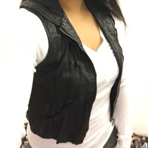 Forever 21 Black Faux Leather Vest w/ Hood