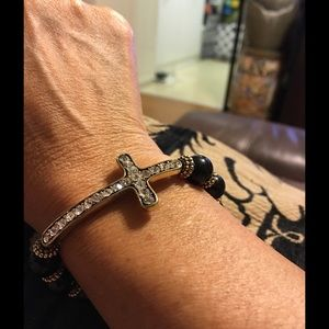Black & Gold Stretchable Cross Bracelet