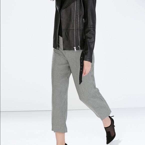 0205260a Zara Pants | Houndstooth Trousers | Poshmark