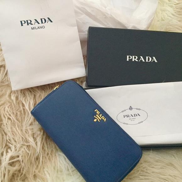 da42f267ff2591 Prada Bags | Nwt Vitello Bluette Blue Navy Gold Wallet | Poshmark