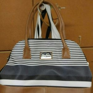 Marc Fisher Handbags - Tan Blue and White leather stripped hand bag.