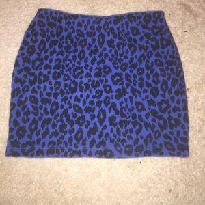Blue cheetah print skirt