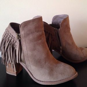 Suede Fringe Ankle Bootie