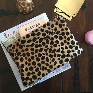 Clare Vivier Handbags - Clare V. (Vivier) Leopard Hair Calf Flat Clutch