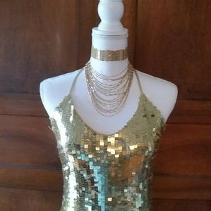 Gold sequin top, size medium, bought in Europe