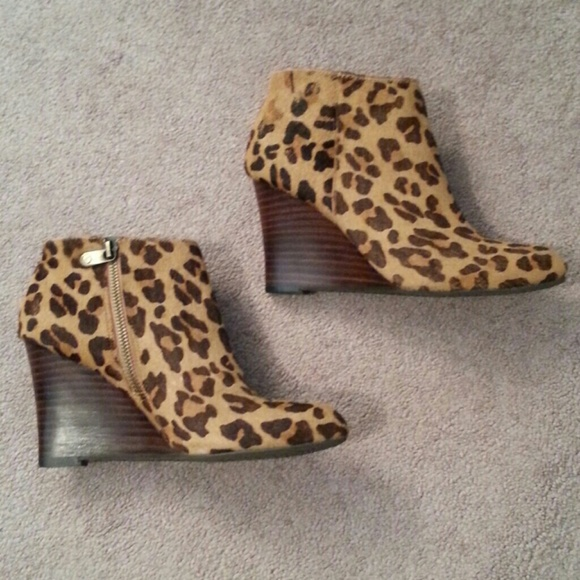 Adrienne Vittadini Leopard Wedge Bootie