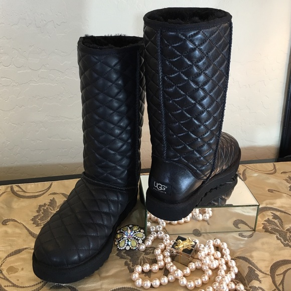 UGG NEW Black Diamond Quilted Leather Tall Boots