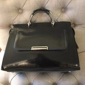 NWT Nine West Black Patent Luxe Life Handbag