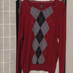 J Ferrar Argyle Sweater Burgundy, used for sale