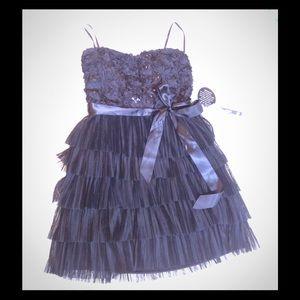 NWT AS U WISH TIRED RUFFLED BLACK DRESS