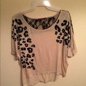 Tops - Hi-low lace & leopard shirt