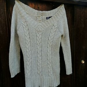 Zara off the shoulder cable knit sweater.