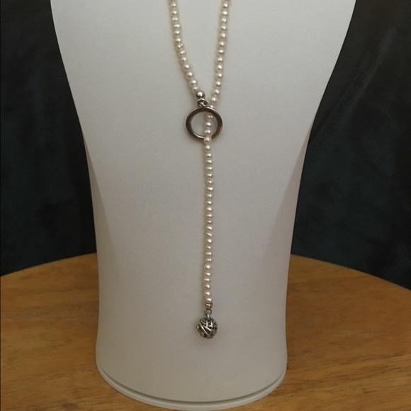 Pandora jewelry pearl and diamond lariat necklace poshmark pandora pearl and diamond lariat necklace mozeypictures