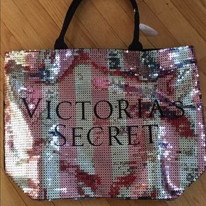 Victoria's Secret striped sequined tote bag