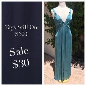 Ellie Tahari Teal Maxi Dress. Size Medium