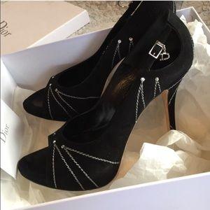 Dior follies peep toe black suede rhinestone heels