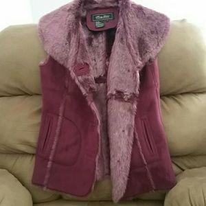 Faux fur and faux seude vest