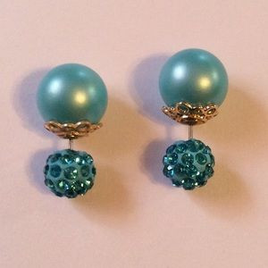 Jewelry - Double Sided Crystal Ball Earrings Blue New