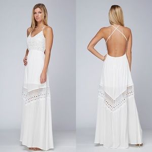 """Corsair"" Backless Strappy White Maxi Dress"