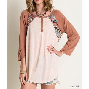 Bare Anthology Tops - Tribal Ethnic Print Baseball Tee / Top