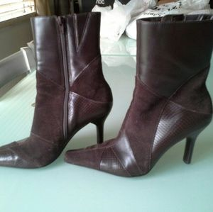 Genuine leather heeled boots