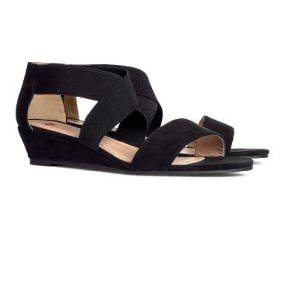 d0cf910fd H&M Shoes | Hm Black Elastic Cross Strap Wedge Sandals | Poshmark
