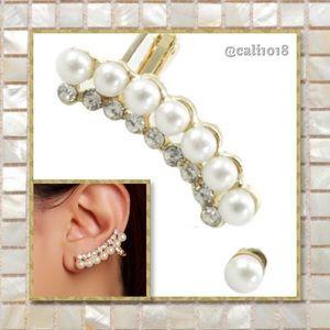 New Faux Pearl & Crystal Crawler Stud Earring Set