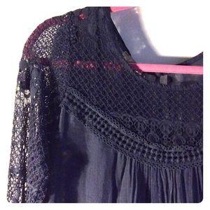 Giulia Dresses & Skirts - ⭐️CCO⭐️ Navy Blue Silk Dress w/Lace Detail
