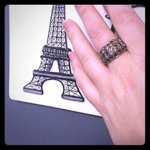 Antique silver orange gemstone ring! Size 8