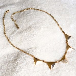 Gold triangle pyramid station necklace