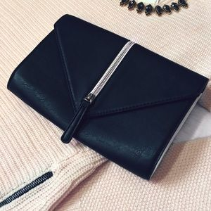 Emperia Handbags - Black and White Vegan Leather Envelope Clutch