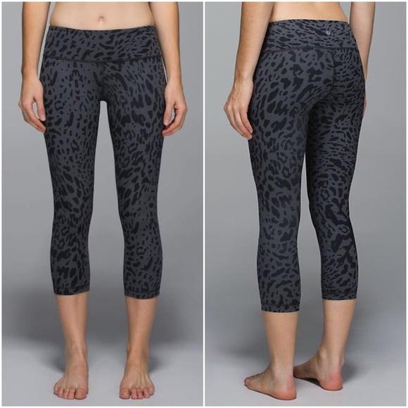 747ce716cd lululemon athletica Pants - Lululemon Gray Leopard Wunder Under Crop Yoga  Pant