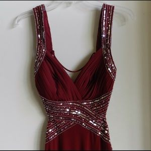 Burgundy Sequined Formalwear! Open Back!