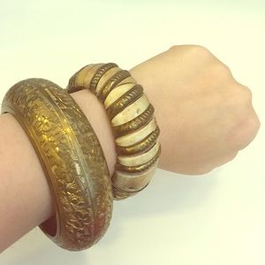 Wood, Brass & Ivory Vintage Tribal Bangle Bracelet