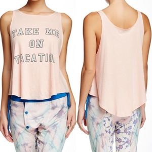 Wildfox Tops - 🆕NWT Wildfox Take Me On Vacation Pink Tank