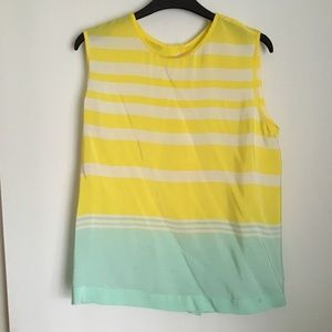 Equipment yellow blue silk top